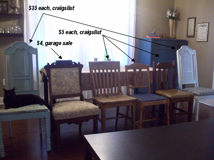 Mismatched Dining Chairs mismatched dining chairs | living well on the cheap
