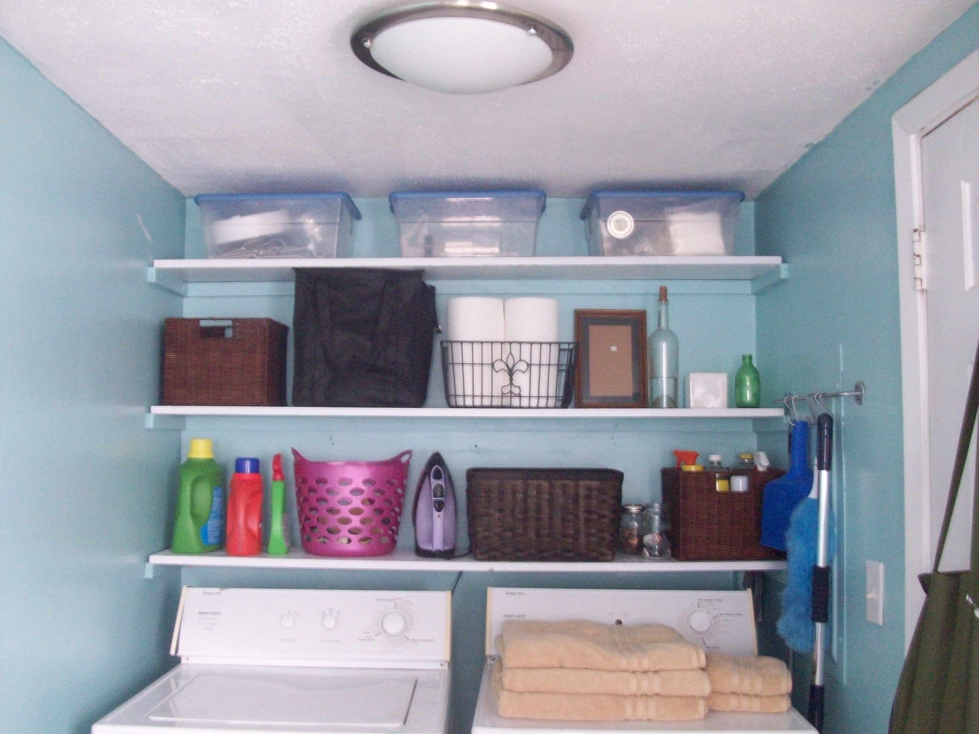 Beachy Blue Laundry Room | Living Well on the Cheap