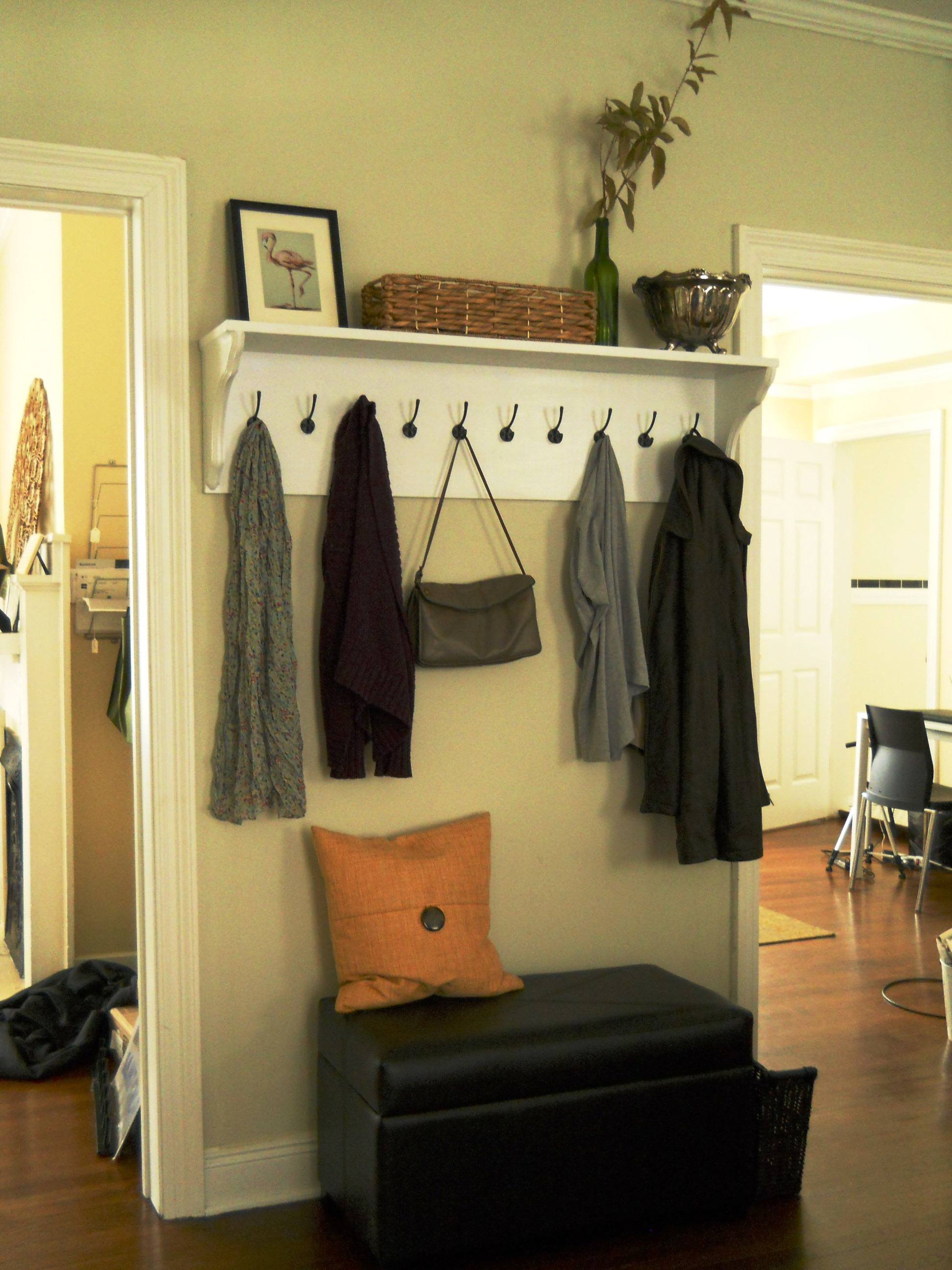 Entryway shelf hooks living well on the cheap - Living room with front entry ...